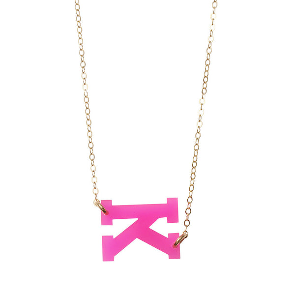 Moon and Lola - Acrylic Varsity Necklace Hot Pink