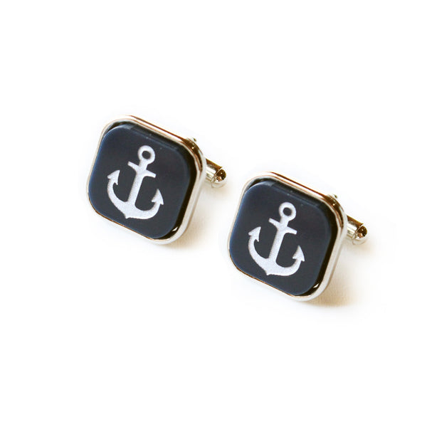 Moon and Lola - Eden Square Cuff Links Navy Color with Silver Anchors
