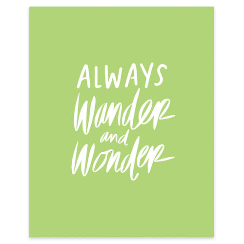 "Moon and Lola xx Thimblepress ""Always Wander and Wonder"" framable print"