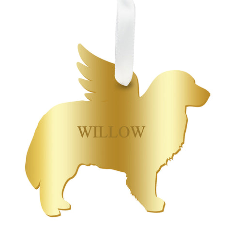 Personalized Angel Bernese Mountain Dog Ornament with wings in mirrored gold