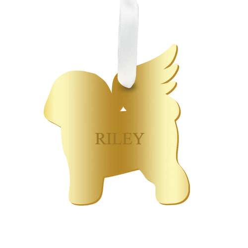 Moon and Lola - Personalized Angel Bichon Frise Ornament with wings in mirrored gold