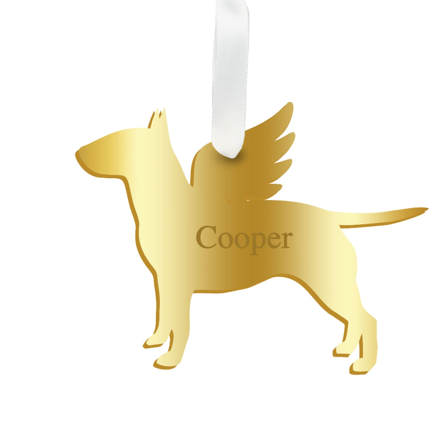Moon and Lola - Personalized Angel Bull Terrier Ornament with wings in mirrored gold