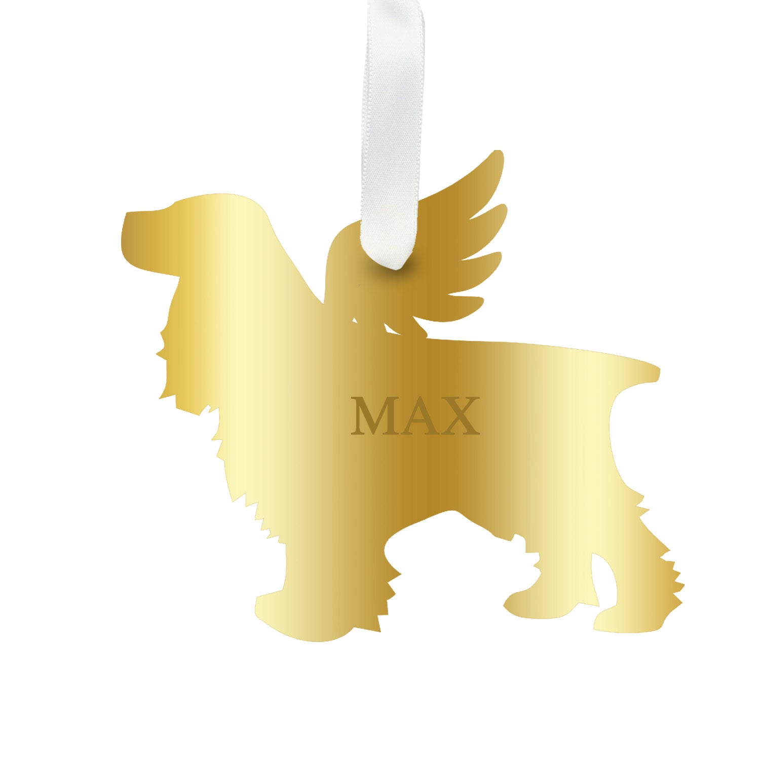 Moon and Lola - Personalized Angel Cocker Spaniel Ornament with wings in mirrored gold