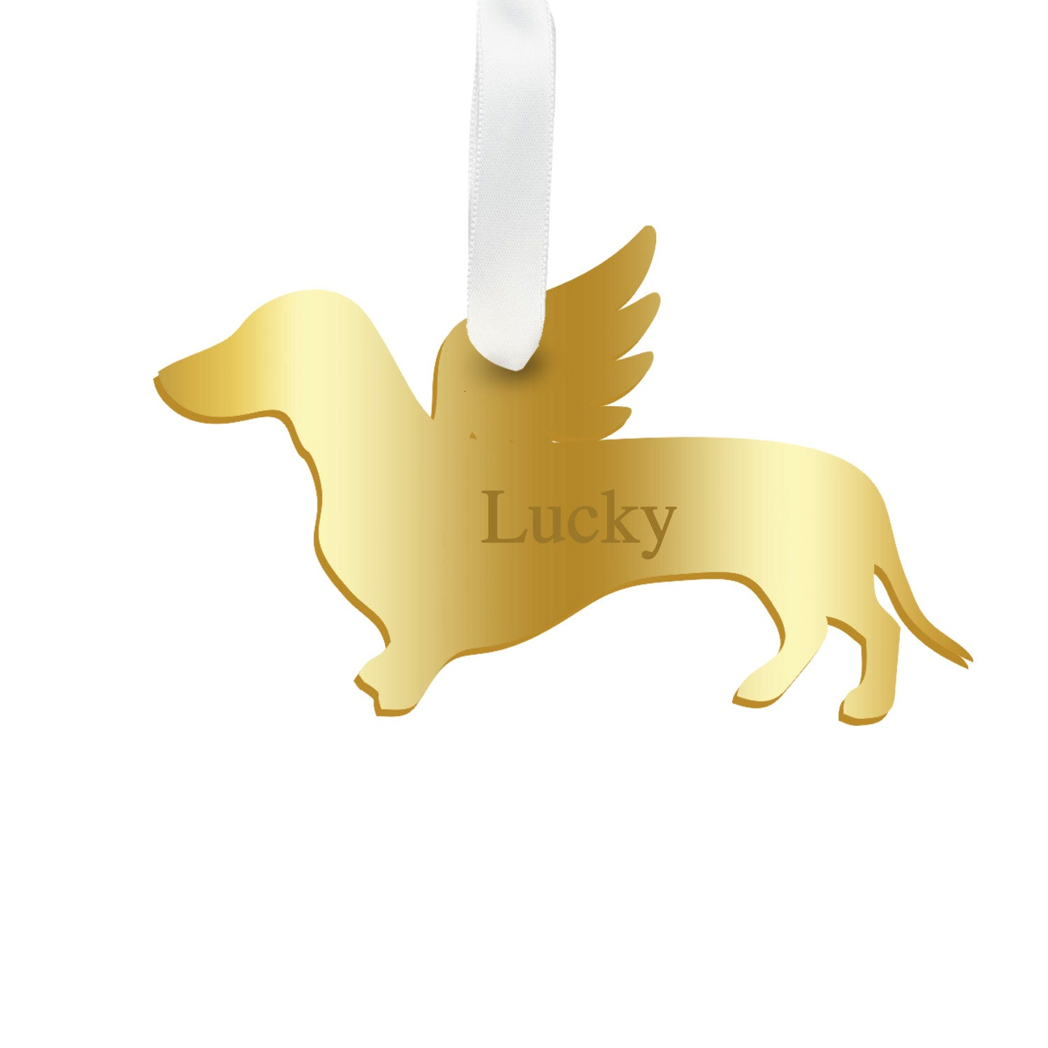Moon and Lola - Personalized Angel Dachshund Ornament with wings in gold