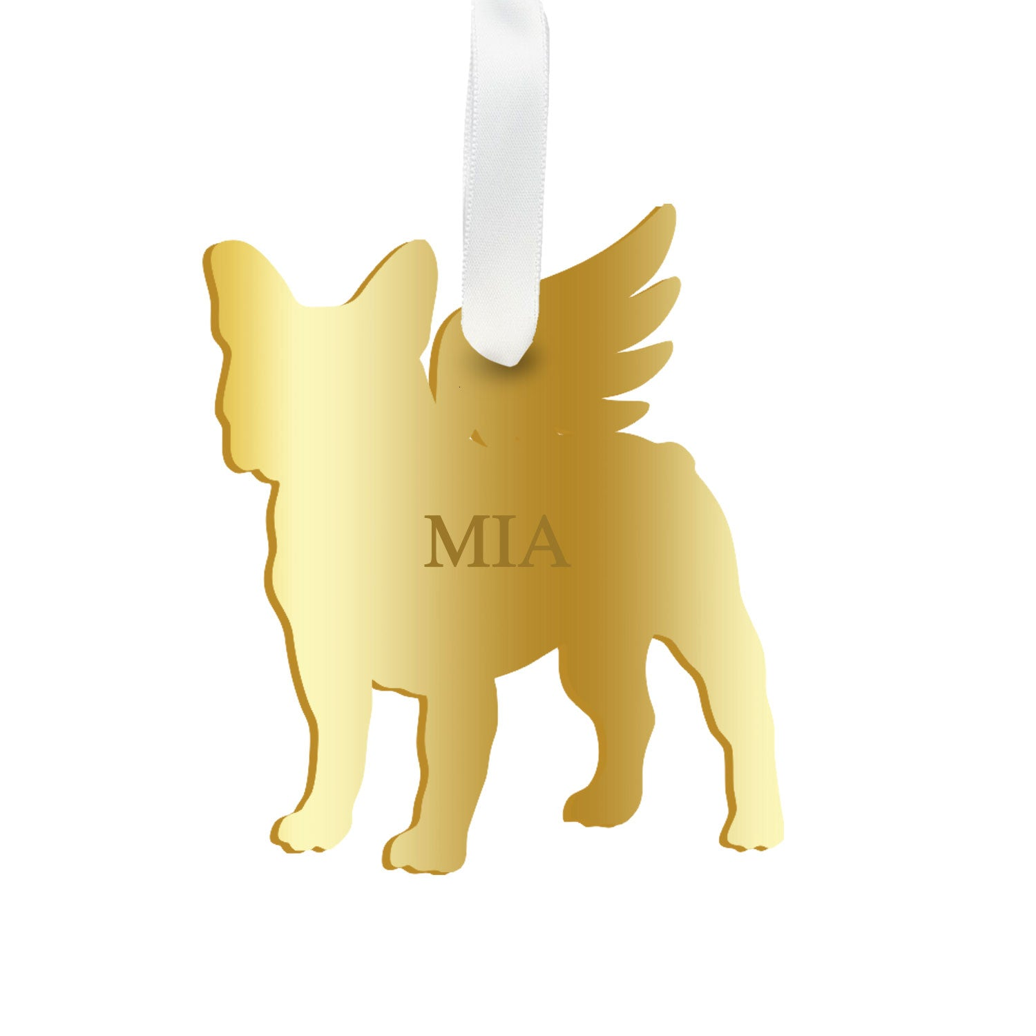 Moon and Lola - Personalized Angel Boston Terrier Ornament with wings in mirrored gold