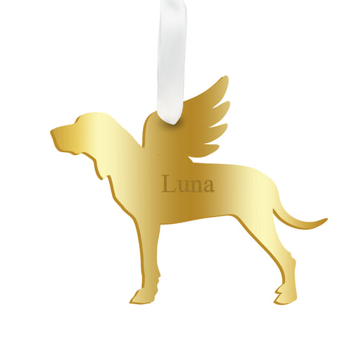 Moon and Lola - Personalized Angel Hound Ornament with wings in gold