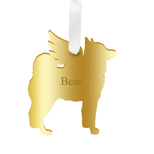Moon and Lola - Personalized Angel Husky Ornament with wings in gold