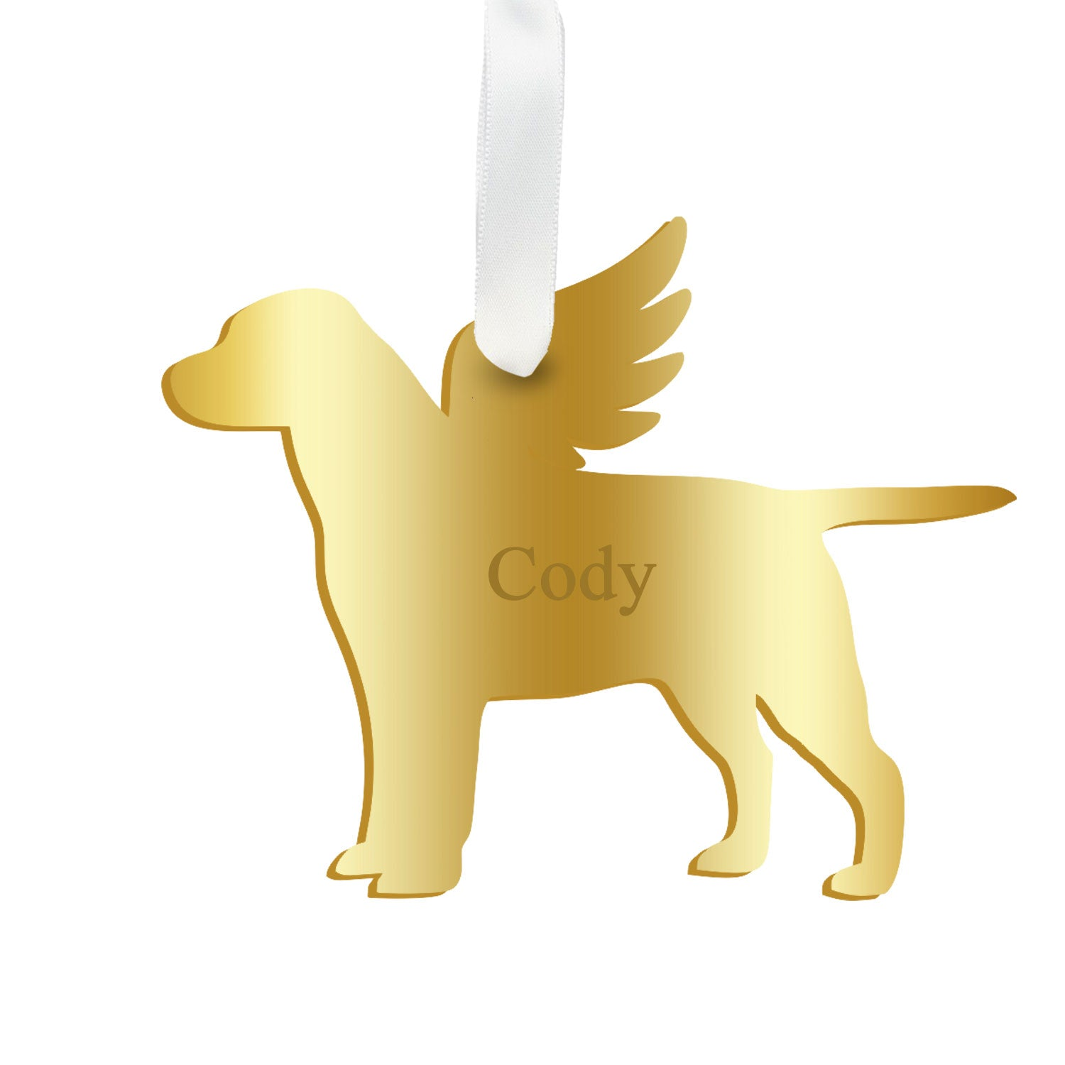 Moon and Lola - Personalized Angel Labrador Ornament with wings in gold