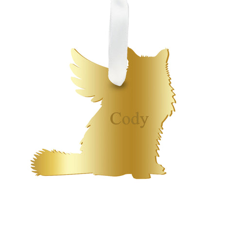 Moon and Lola - Personalized Angel Longhaired Cat Ornament with wings in gold