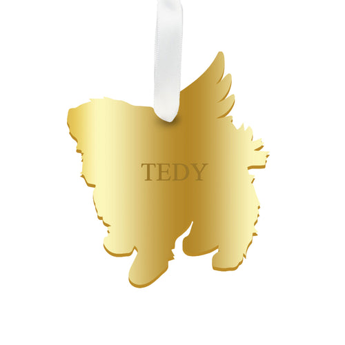 Moon and Lola - Personalized Angel Maltese Ornament with wings in gold