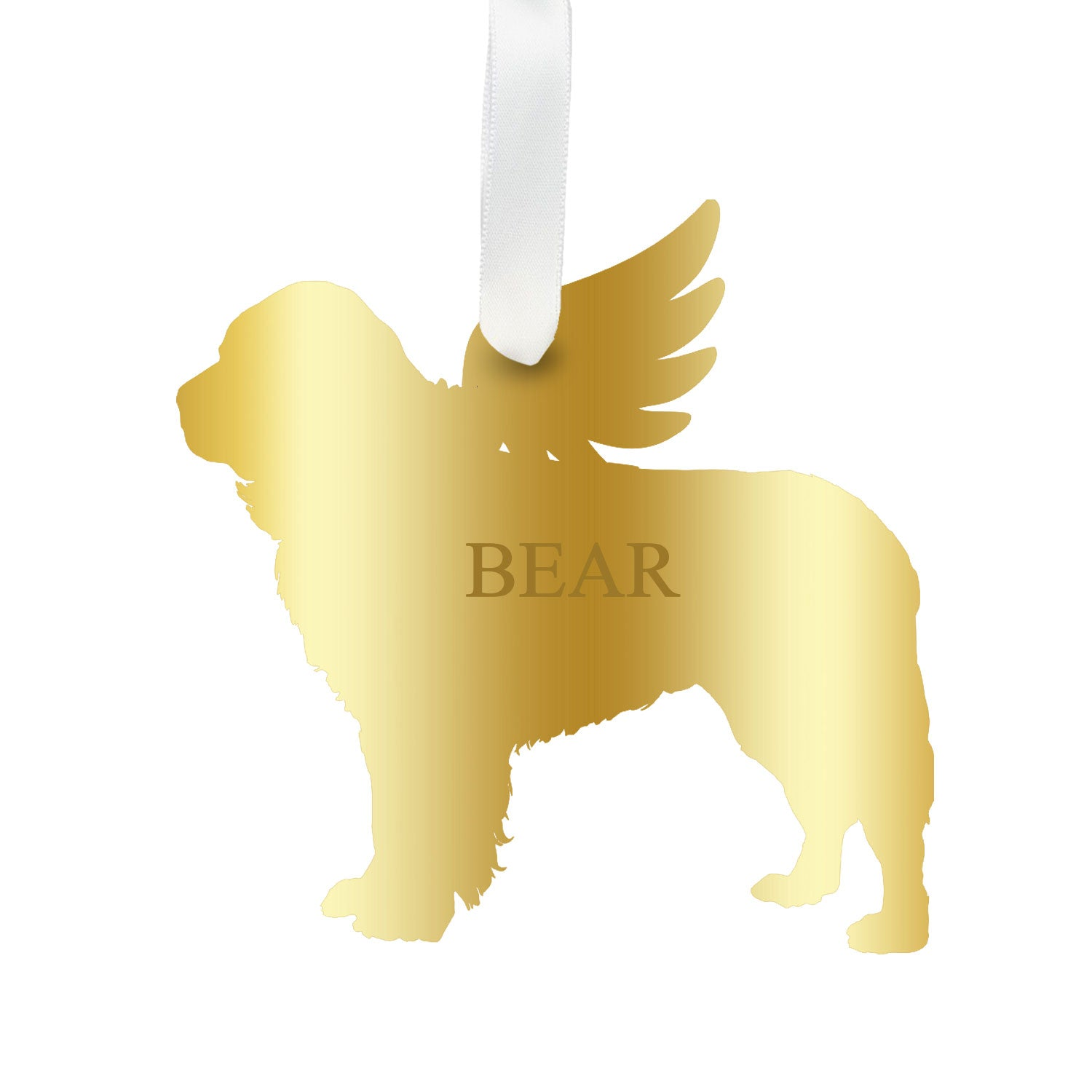 Moon and Lola - Personalized Angel Newfoundland Ornament with wings in mirrored gold