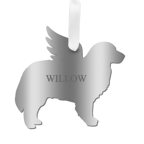Personalized Angel Bernese Mountain Dog Ornament with wings in mirrored silver