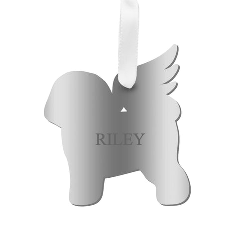 Moon and Lola - Personalized Angel Bichon Frise Ornament with wings in mirrored silver