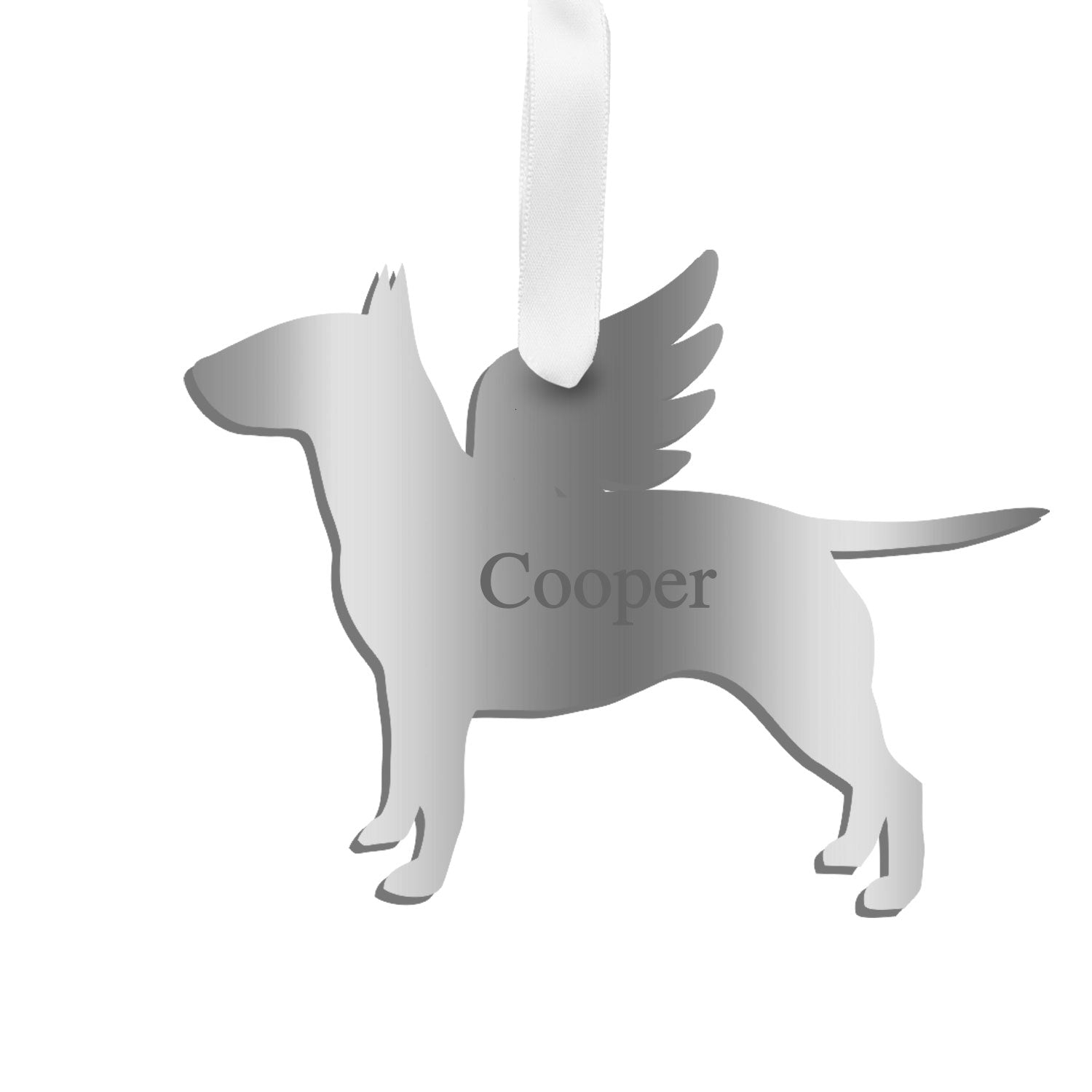 Moon and Lola - Personalized Angel Bull Terrier Ornament with wings in mirrored silver