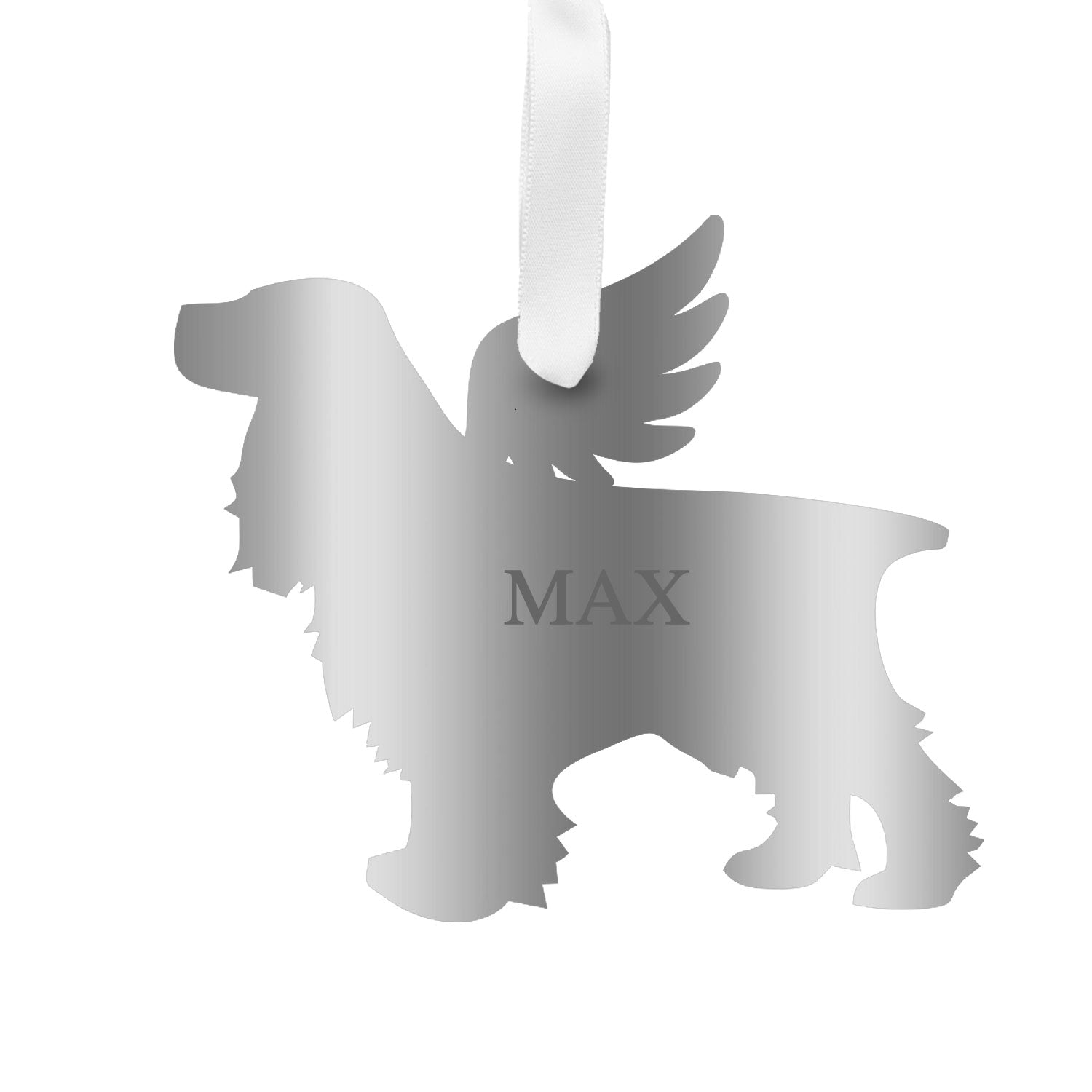 Moon and Lola - Personalized Angel Cocker Spaniel Ornament with wings in mirrored silver