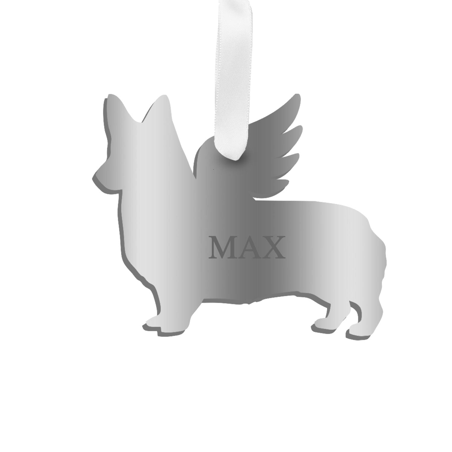 Moon and Lola - Personalized Angel Corgi Ornament with wings in silver