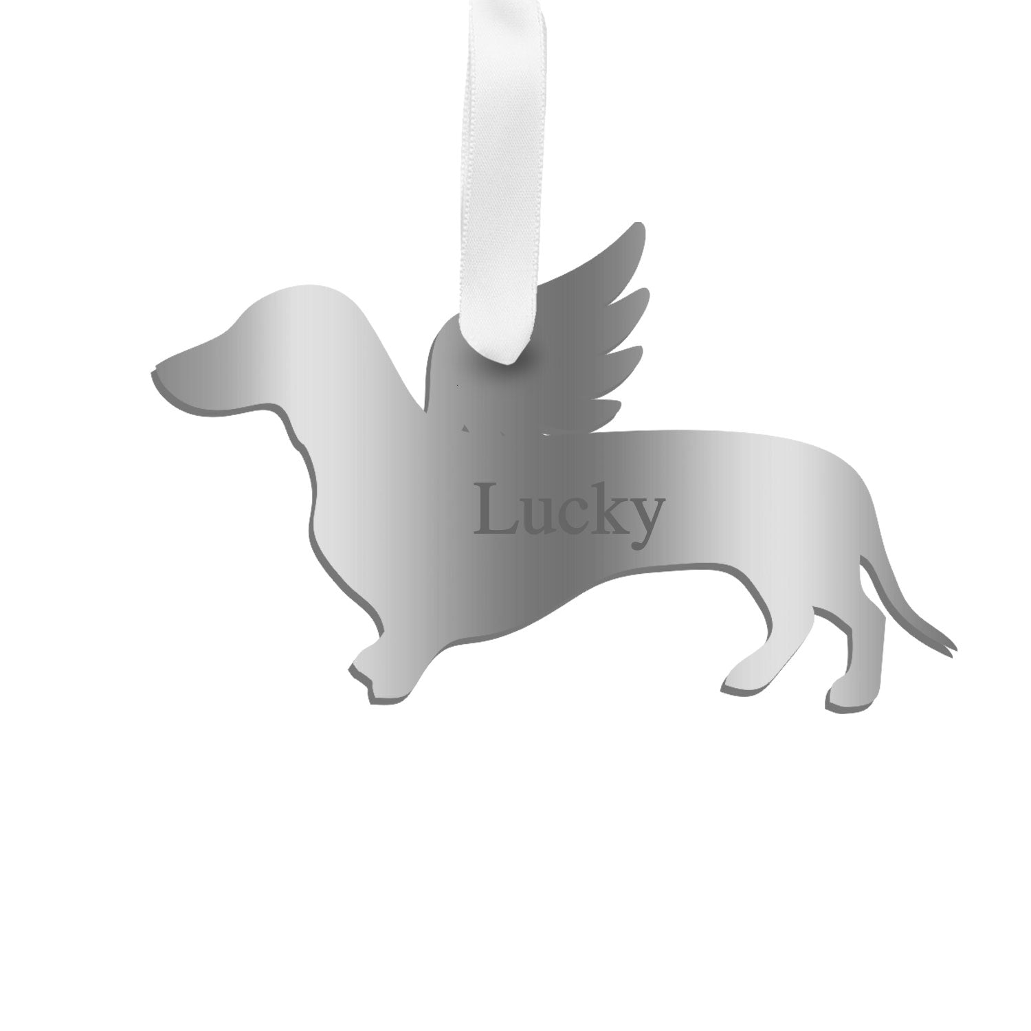 Moon and Lola - Personalized Angel Dachshund Ornament with wings in silver