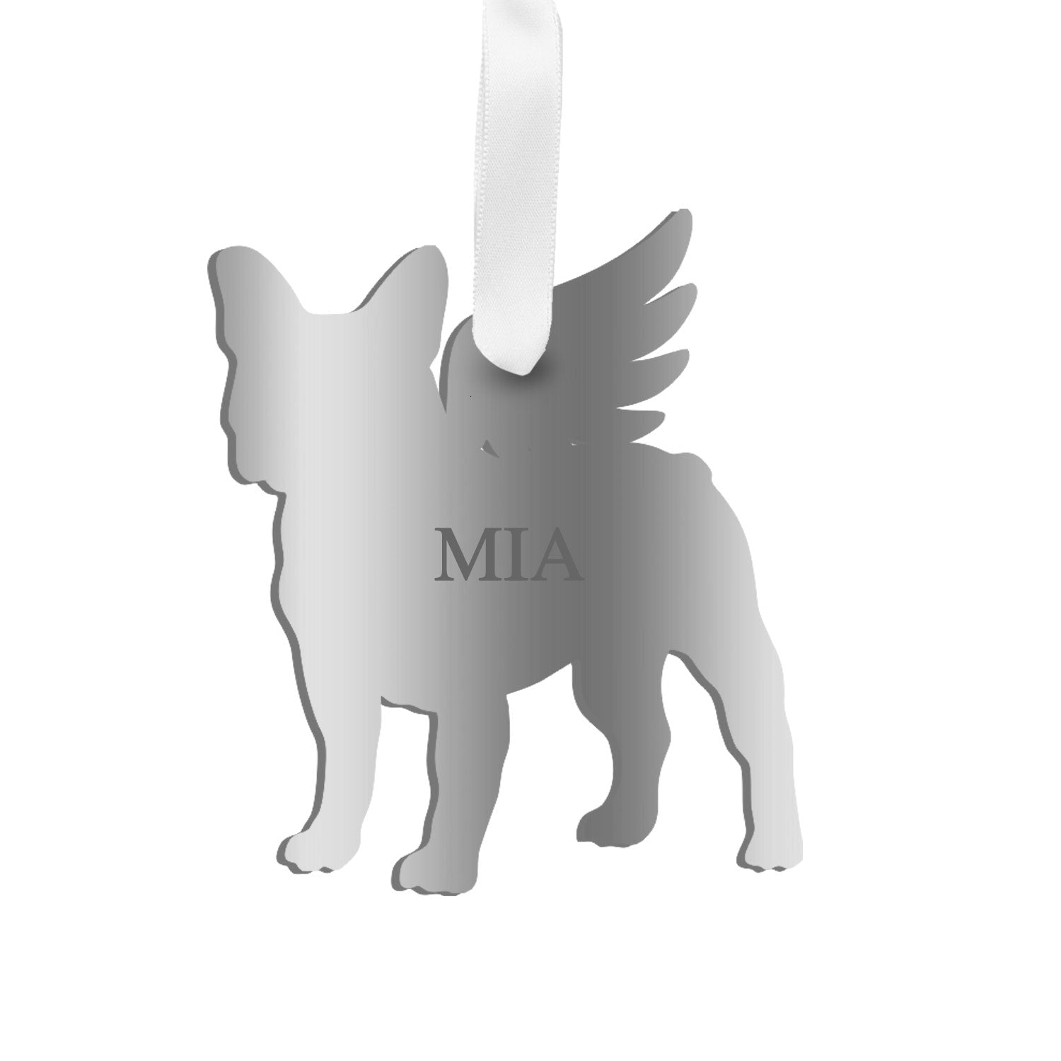 Moon and Lola - Personalized Angel Boston Terrier Ornament with wings in mirrored silver