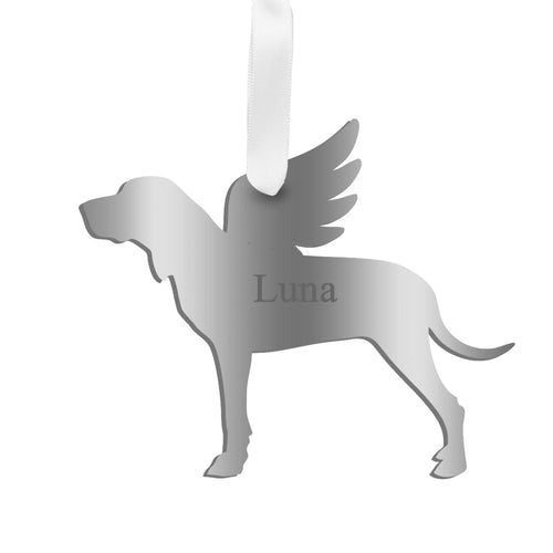 Moon and Lola - Personalized Angel Hound Ornament with wings in silver