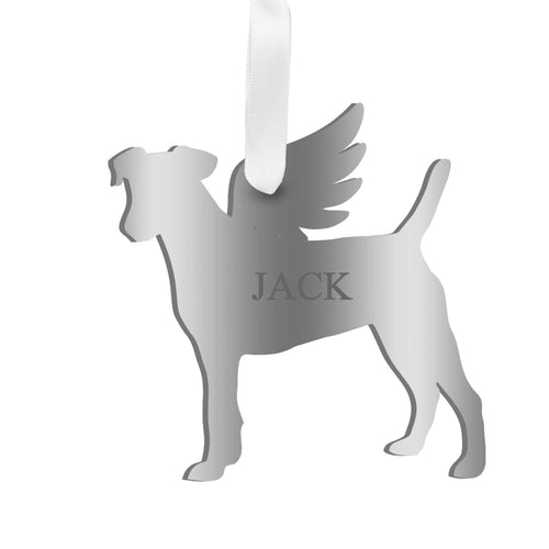 Moon and Lola - Personalized Angel Jack Russell Terrier Ornament with wings in silver