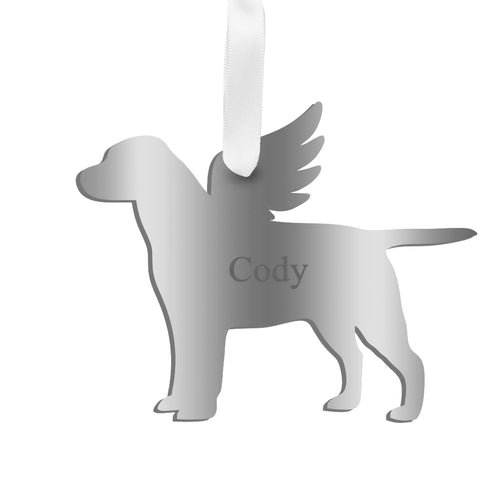 Moon and Lola - Personalized Angel Labrador Ornament with wings in silver