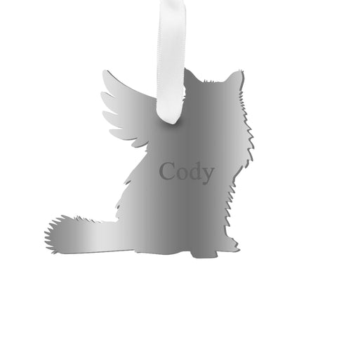 Moon and Lola - Personalized Angel Longhaired Cat Ornament with wings in silver