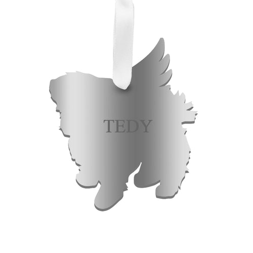 Moon and Lola - Personalized Angel Maltese Ornament with wings in silver
