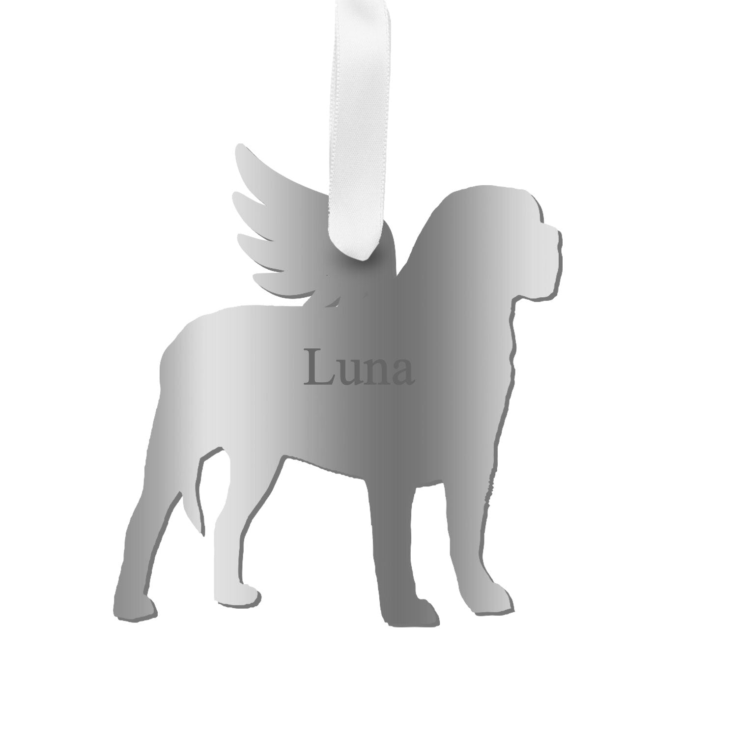 Moon and Lola - Personalized Angel Mastiff Ornament with wings in silver
