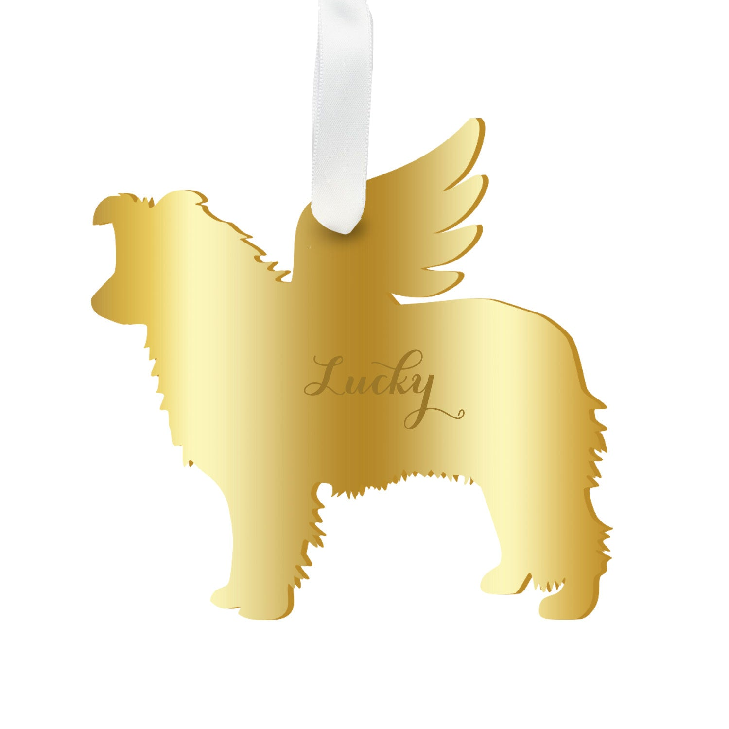 Moon and Lola - Personalized Angel Border Collie Ornament with wings in mirrored gold