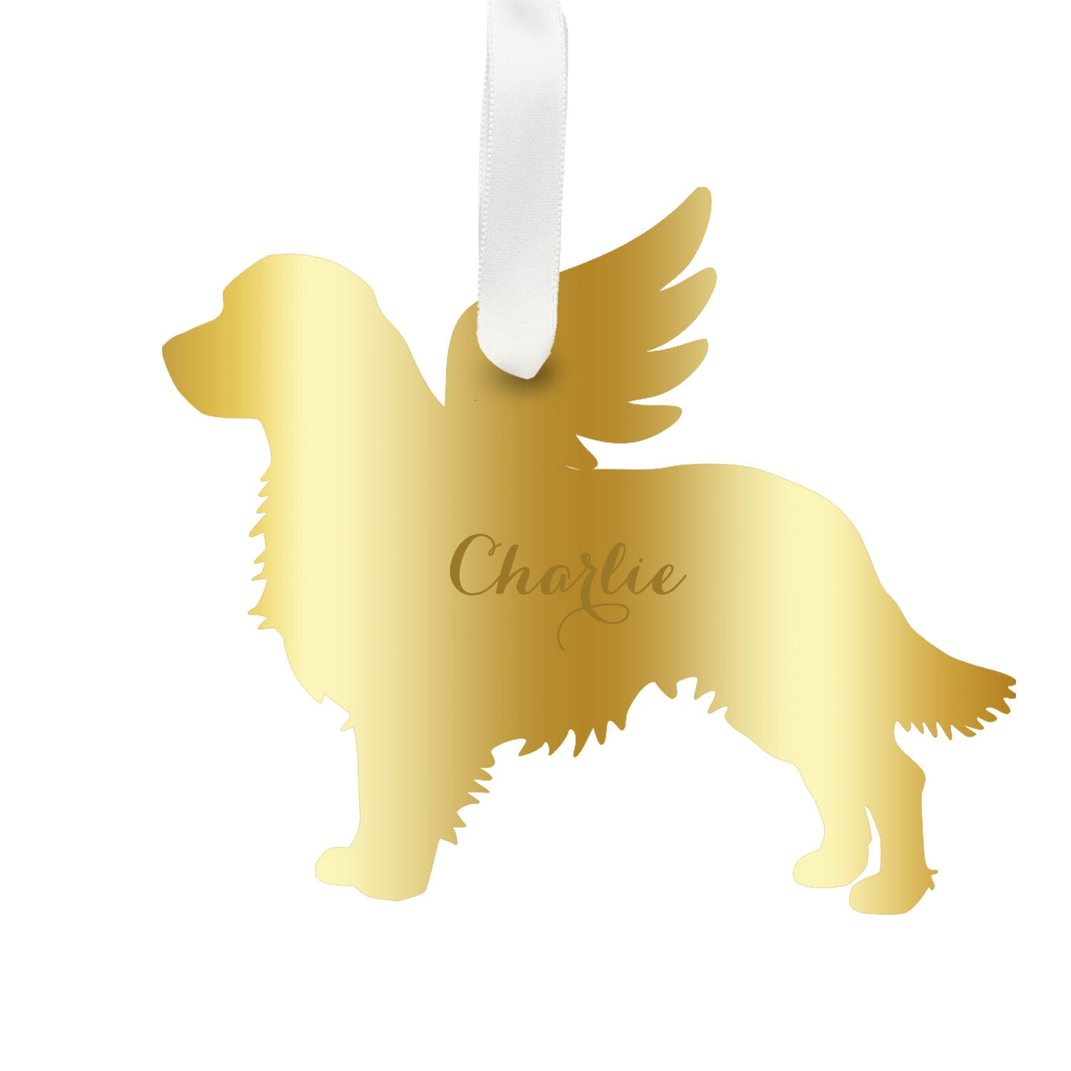 Moon and Lola - Personalized Angel Golden Retriever Ornament with wings in gold