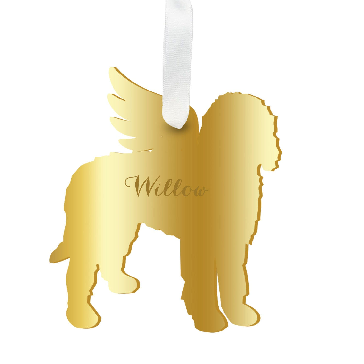 Moon and Lola - Personalized Angel Goldendoodle Ornament with wings in gold