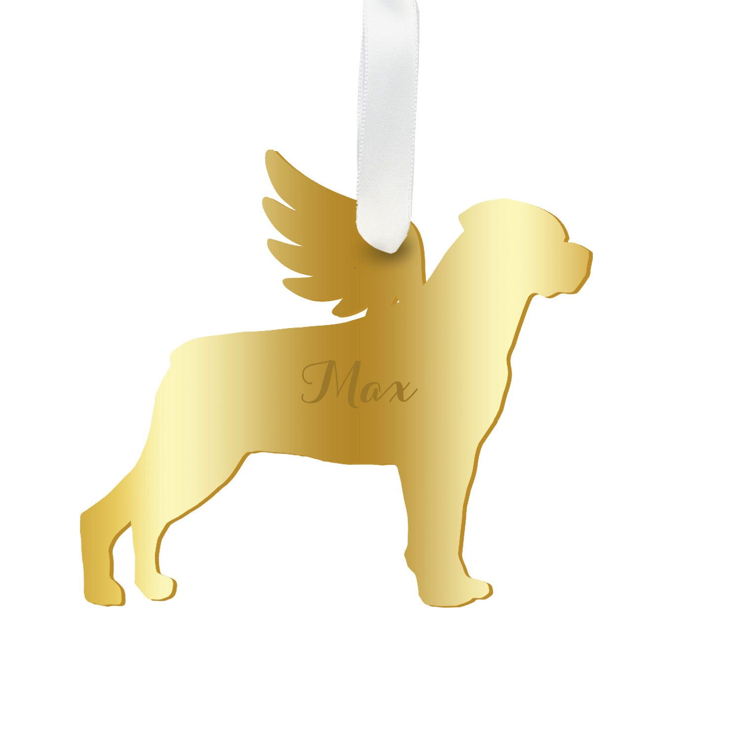 Moon and Lola - Personalized Angel Rottweiler Ornament with wings in gold