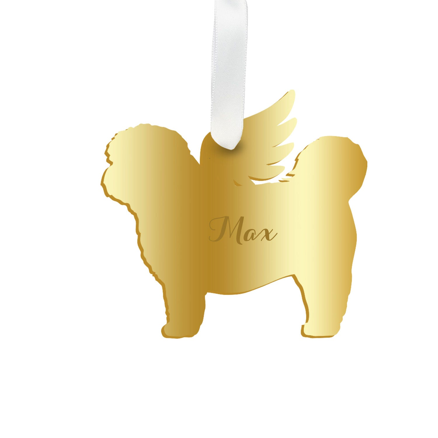 Moon and Lola - Personalized Angel Shih-Tzu Ornament with wings in gold