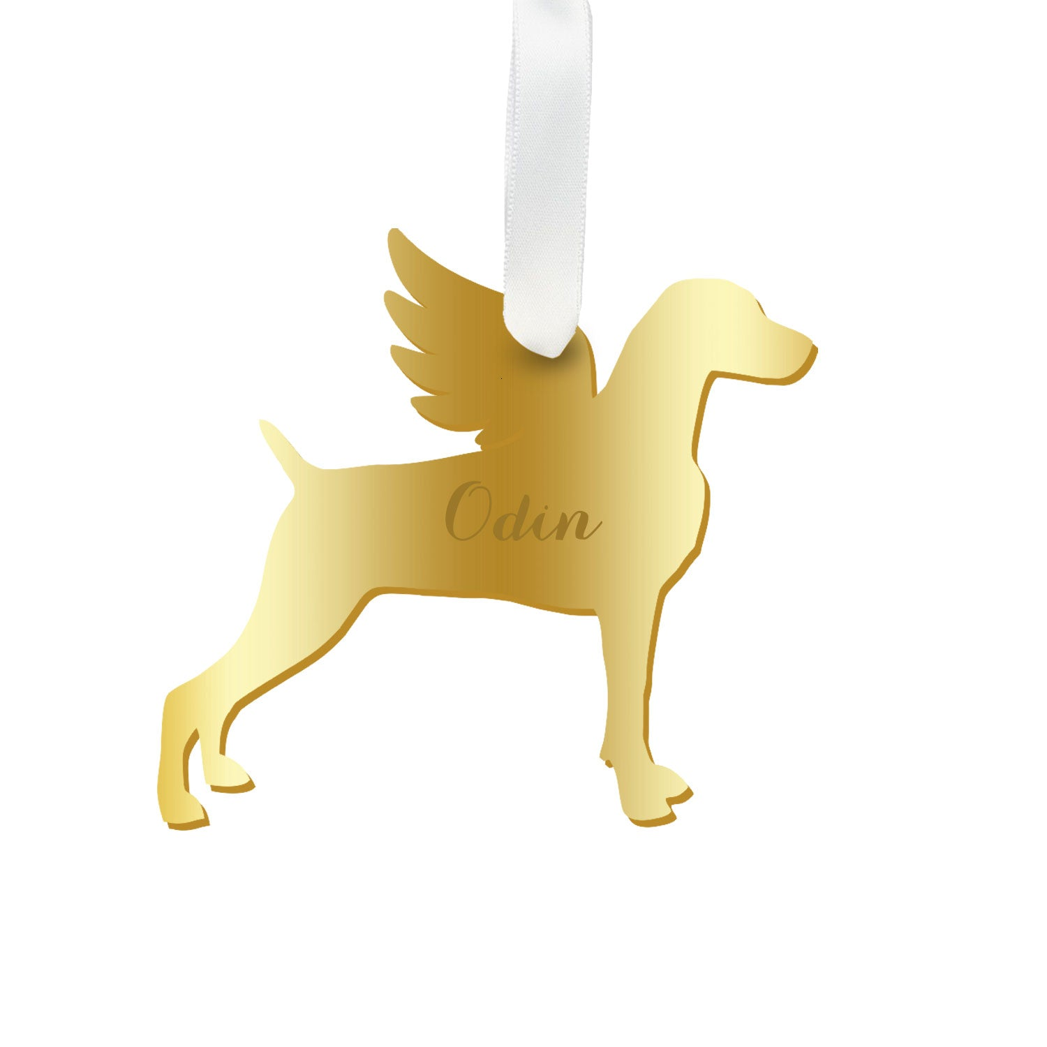Moon and Lola - Personalized Angel Weimaraner Ornament with wings in gold