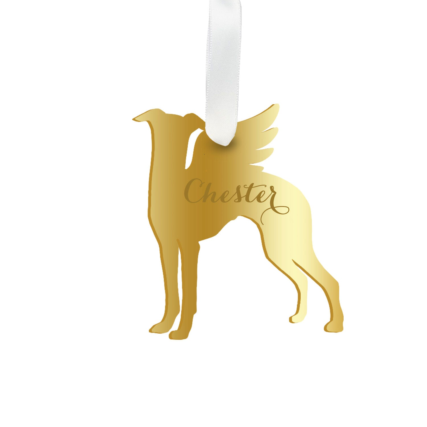 Moon and Lola - Personalized Angel Whippet Ornament with wings in gold