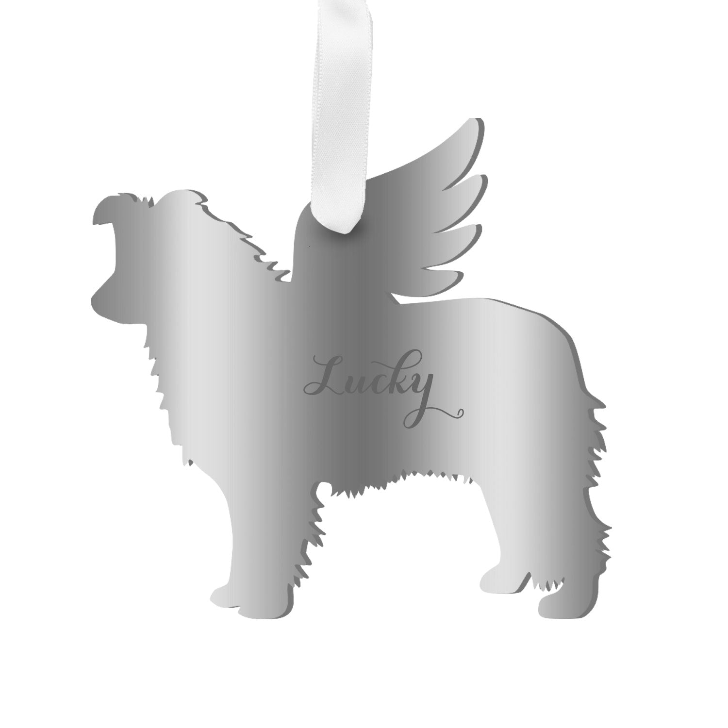 Moon and Lola - Personalized Angel Border Collie Ornament with wings in mirrored silver