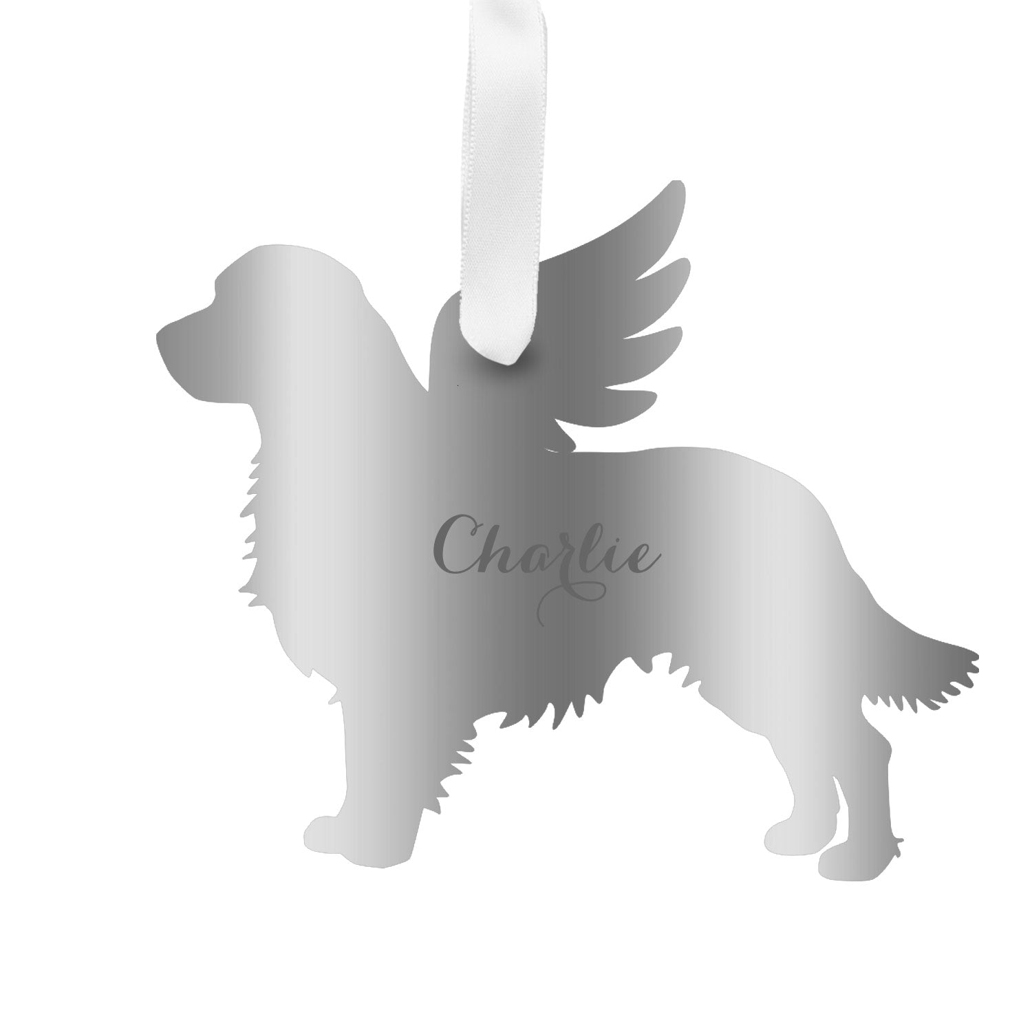 Moon and Lola - Personalized Angel Golden Retriever Ornament with wings in silver