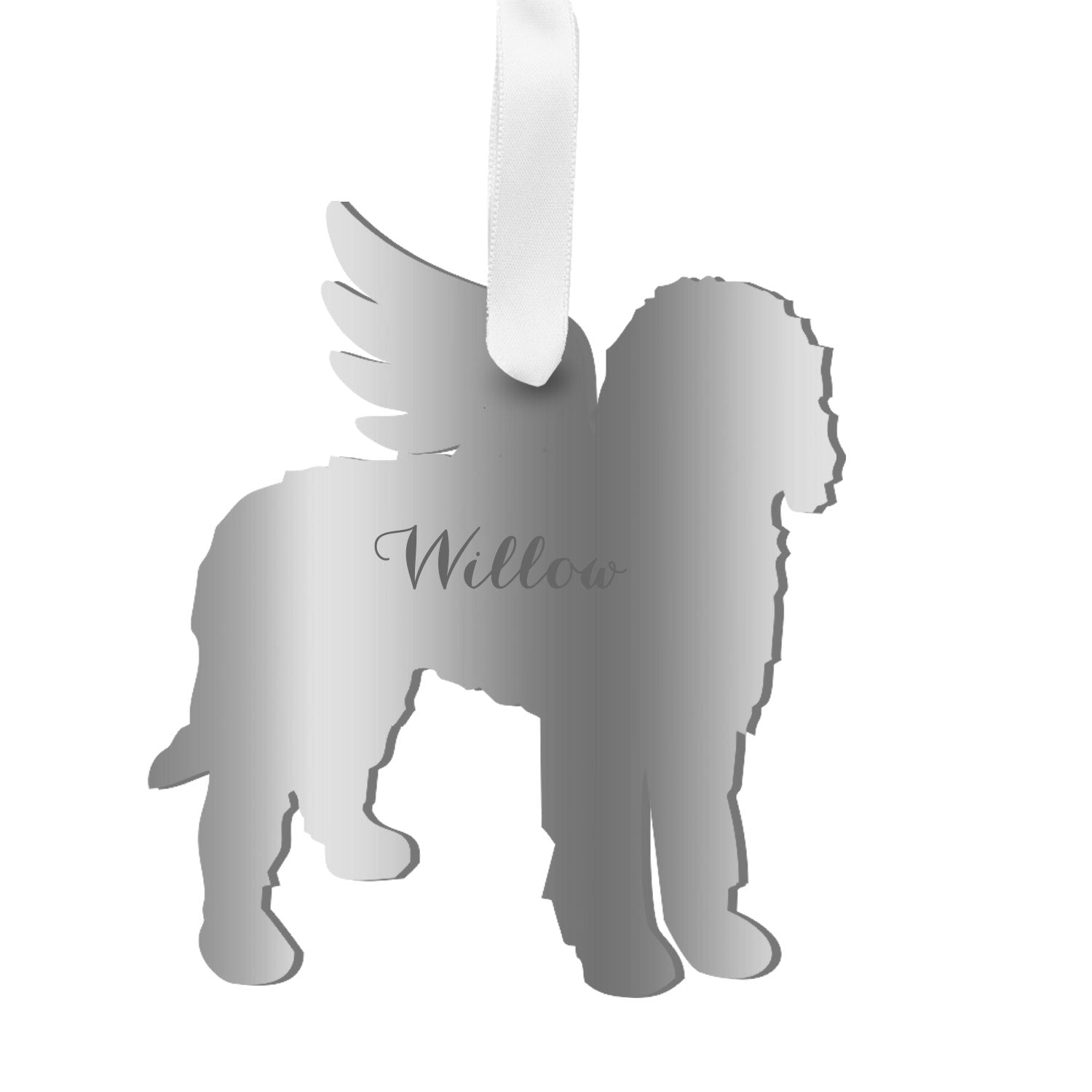 Moon and Lola - Personalized Angel Goldendoodle Ornament with wings in silver