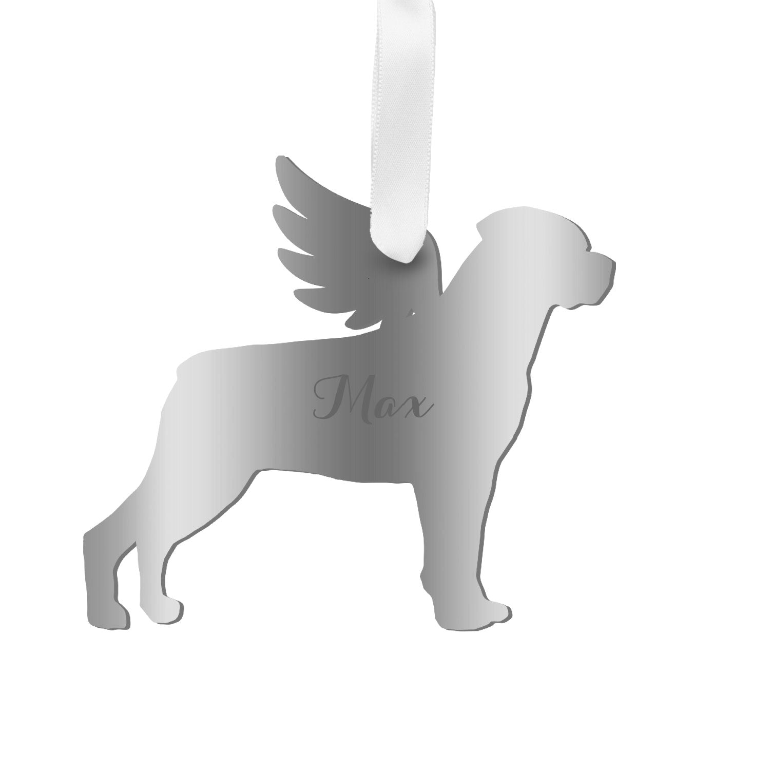 Moon and Lola - Personalized Angel Rottweiler Ornament with wings in silver