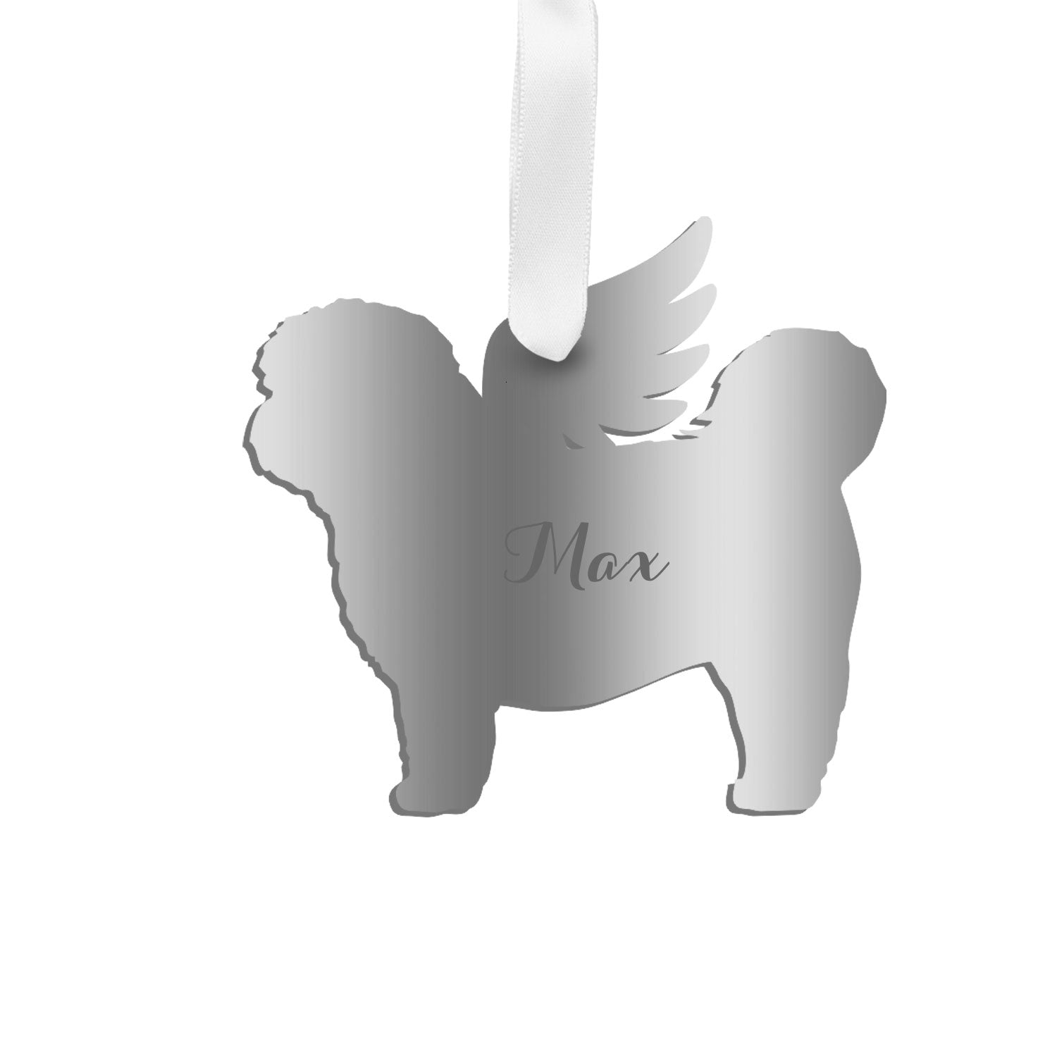 Moon and Lola - Personalized Angel Shih-Tzu Ornament with wings in silver