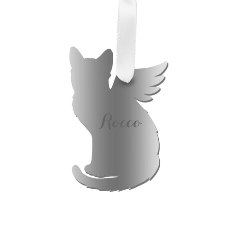 Moon and Lola - Personalized Angel Shorthaired Cat Ornament with wings in  silver