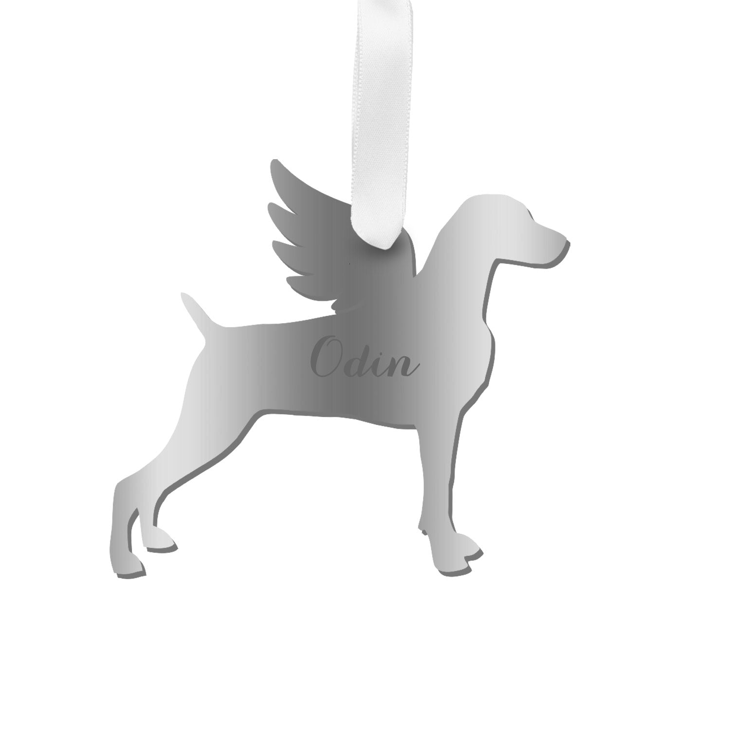 Moon and Lola - Personalized Angel Weimaraner Ornament with wings in silver