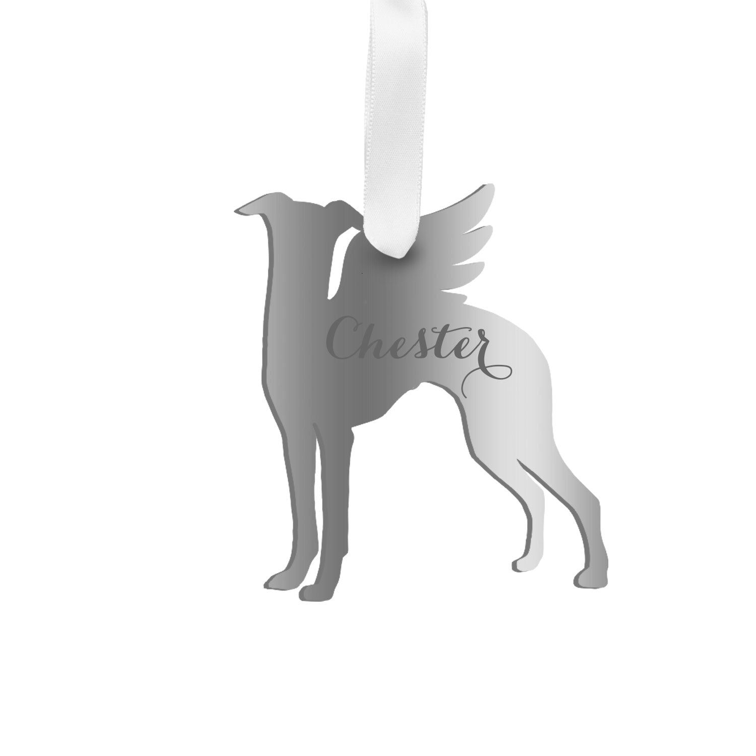 Moon and Lola - Personalized Angel Whippet Ornament with wings in silver