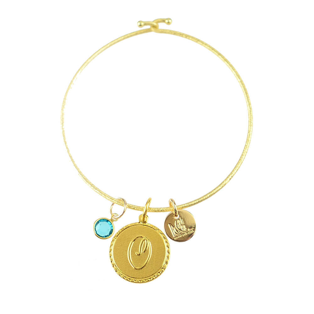 Moon and Lola - Birthstone Charm on Nora Bangle
