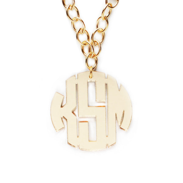 I found this at #moonandlola! - Acrylic Block Monogram on Greenwich Chain Mirrored Gold