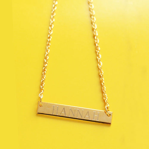 Sample Brass Bar Necklaces (first letter M-Z)