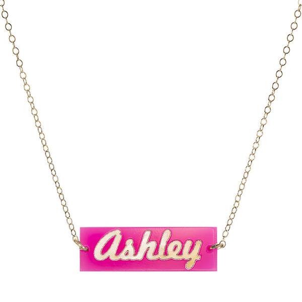 Moon and Lola - Calypso Modern Script Bar Necklace