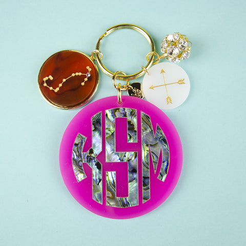 Moon and Lola - Calypso Block Monogram Keychain