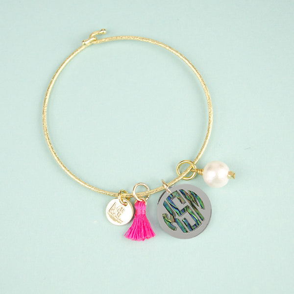 Moon and Lola - Calypso Block Monogram Charm on Nora Bangle