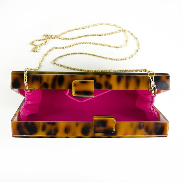 Moon and Lola - Tortoise Box Clutch Interior